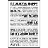 Quadro Canvas com Moldura Preta Frase Motivacional Seja Sempre Feliz 80x120cm - Decore pronto