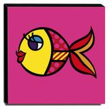 Quadro Canvas Swimmingly Pink Romero Britto 30x30cm-rb04 - Lubrano decor