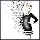 Quadro com Moldura Preta Ilustração Mulher com Efeito Desintegração 100x100cm - Decore pronto