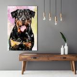 Quadro De Cachorro Rottweiler Colorido Arte Aquarela Tela Grande - Bimper