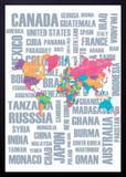 Quadro Decorativo Abstrato Mapa Mundo 50x70cm - Decore pronto