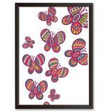 Quadro Decorativo - Borboletas de retalhos - 46x34cm - Cool art