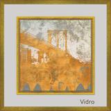 Quadro Decorativo com Margem de Vidro Transparente Ponte Dourada II 70x70cm - Decore pronto