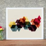Quadro Decorativo com Moldura Cubos 3D - Love decor
