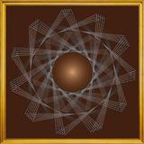 Quadro Decorativo com Moldura Dourada Desenho Geométrico Rotação 70x70cm - Decore pronto