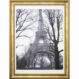 Quadro Decorativo com Moldura Dourada Torre Eiffel em Preto e Branco 60x80cm - Decore pronto