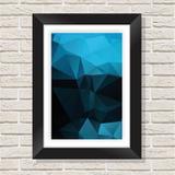 Quadro Decorativo com Moldura em Madeira Maciça e Vidro Geométrico Blue AB015 - Brasil quadros