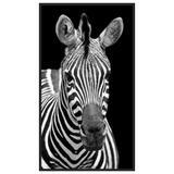 Quadro Decorativo com Moldura Preta Zebra em Fundo Preto 80x140cm - Decore pronto