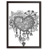 Quadro Decorativo - Coração Maori - 25x19cm - Cool art