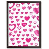 Quadro Decorativo - Corações Rosas Diversos - 25x19cm - Cool art