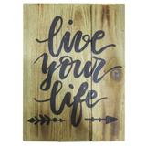 Quadro decorativo de madeira Live Your Life 35X25CM - 26958 - Urban