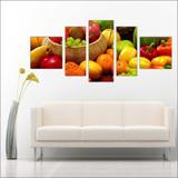 Quadro Decorativo Frutas Restaurantes Cozinha 5 Peças TT8 - Vital