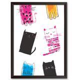Quadro Decorativo - Gatinhos Pintado - 25x19cm - Cool art