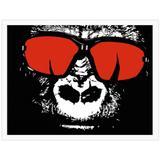 Quadro Decorativo Gorila de Óculos Vermelho 40x30cm - Decore pronto