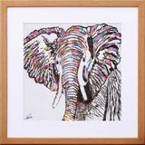 Quadro Decorativo Ilustração Elefante Colorido 40x40cm - Decore pronto