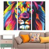 Quadro Decorativo Leão Colorido Hall 95x65cm - Quadros mais