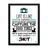 Quadro Decorativo Life is Like a Camera 33x45cm - Cantaki