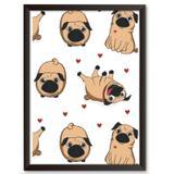 Quadro Decorativo - Pugs, Pugs e Corações - 34x24cm - Cool art