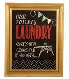 Quadro Decorativo Retrô com Moldura de Madeira Laundry - Maria pia casa