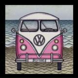 Quadro Decorativo Retrô VW Kombi Rosa e Branca 25x25cm - Decore pronto