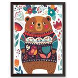 Quadro Decorativo - Urso, Malha e Flores - 34x24cm - Cool art