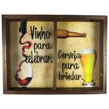 Quadro Duplo Porta Rolhas Vinhos e Tampinha Cerveja Rustico REF 763 - Art frame