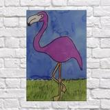 Quadro Flamingo Rosa Fundo Azul 20X30 - Reduna