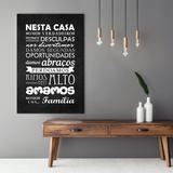 Quadro Frase Regras Da Família Preto Espaço Gourmet Decorativo Para A Casa Nova - Bimper