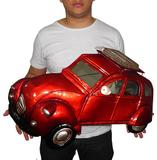 Quadro Fusca 3d Para Parede Em Metal Espelhado para Decoração Carro Vintage Vermelho - Braslu