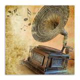 Quadro Gramofone Uniart Marrom 30x30 cm