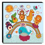 Quadro Infantil Animais no Arco-íres Canvas 30x30cm-INF104 - Lubrano decor