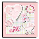 Quadro Infantil Baby Girl Canvas 30x30cm-INF128 - Lubrano decor