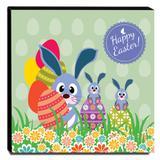 Quadro Infantil Coelhinhos Ovos da Páscoa Canvas 30x30cm-INF76 - Lubrano decor