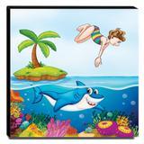 Quadro Infantil Fundo do Mar Tubarão Canvas 30x30cm-INF178 - Lubrano decor