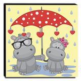 Quadro Infantil Hipopótamos Canvas 30x30cm-INF327 - Lubrano decor
