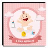 Quadro Infantil Maternidade É Uma Menina Canvas 30x30cm-INF149 - Lubrano decor