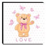 Quadro Infantil Ursinho Love Canvas 30x30cm-INF140 - Lubrano decor