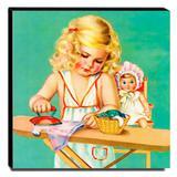 Quadro Infantil Vintage Menina Passando Roupas Canvas 30x30cm-INF479 - Lubrano decor