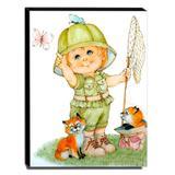 Quadro Infantil Vintage Menino Caçador de Borboletas Canvas 40x30cm-INF445 - Lubrano decor