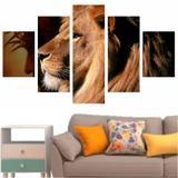 Quadro Leão Moderno Para Sala Quarto Telas Luxo 114x65cm - Quadros mais