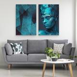 Quadro Moderno A Mulher Abstrata Decorativo Grande Duo Azul Turquesa Enorme - Bimper