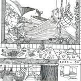 Quadro para COLORIR A Cozinha do Pescador por Kitchen Shakes - Cuadrado