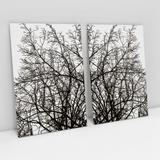 Quadro Para Sala Natureza Árvore Galhos Secos Kit 2 Telas Moderno Tecido Canvas - Bimper