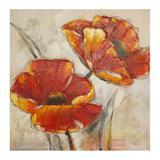Quadro Pintura 2 Flores  Vermelho Fullway