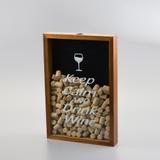 Quadro Porta Rolha de Vinho Keep Calm - Médio - Woodart
