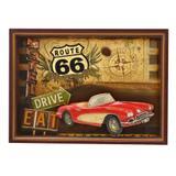Quadro Route 66 Vintage Red Car Drive Eat 54x39cm - Espressione
