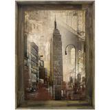 Quadro Tela Decorativa com Moldura Rústica Empire State Building de Nova York 80x110cm - Decore pronto