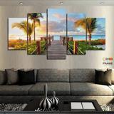 Quadros Decorativos Praia Por Do Sol 63x130mt em Tecido - Wall frame