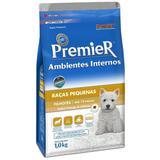 Ração Premier Ambientes Interno Cães Filhotes Raças Pequenas Sabor Frango e Salmão - Premier pet