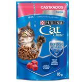 Ração Úmida Nestlé Purina Cat Chow Castrados Sachê Sabor Carne Ao Molho Caixa Com 15 unidades 85g